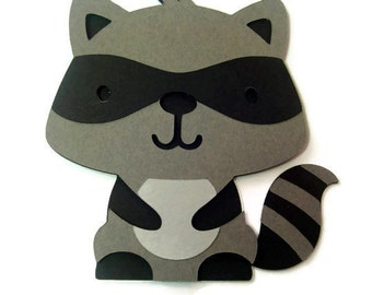 Raccoon Card - Woodland Baby - Raccoon - Shaped Cards - Cards for Children - Animal Cards - You Pick Color - Gray or Lavender Raccoon