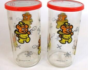 Retro Jam Jars Glass Fozzie Muppet Jim Henson 1989, Muppets Jar, Muppet Cups, Vintage Muppet Glass Jar