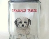Shih Tzu, Dog Biscuit, Dog Food, Treat Jar, Pet Canister, Custom Pet Portrait, Glass Container, Puppy Painting, Dog Art