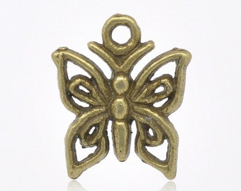 10 pieces Antique Bronze Butterfly Charms