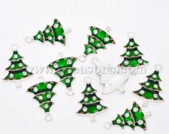 4 Pieces Silver Plated Rhinestone Enamel Christmas Tree Charms