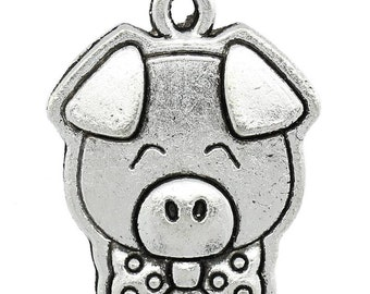 5 Pieces Antique Silver Pig Charms