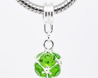 1 piece Pretty Silver Plated August Birthstone European Charm Dangle Beads