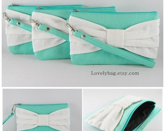 SUPER SALE - Set of 5 Mint with Ivory Bow Clutches - Bridal Clutches, Bridesmaid Wristlet, Wedding Gift, Zipper Pouch - Made To Order