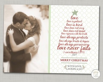 Newlywed christmas card printable- religious Christmas card- corinthians- love is patient love is kind- just married card- Couple christmas