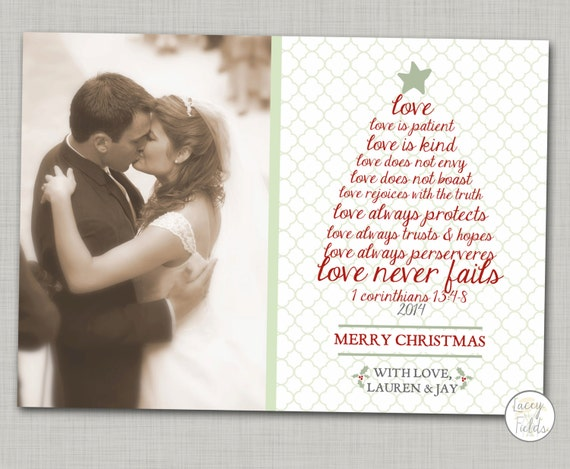 Newlywed christmas card printable religious Christmas card