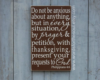 Philippians 4 6 Do not be Anxious  Christian Bible Scripture Subway Typography Art  Wooden Sign