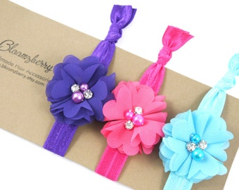 Chic Flowers Elastic Knotted Hair Ties - 3 pcs Set - Purple, Hot Pink and Turquoise - Flowers Elastic Hair Ties - Flowers Hair Tie
