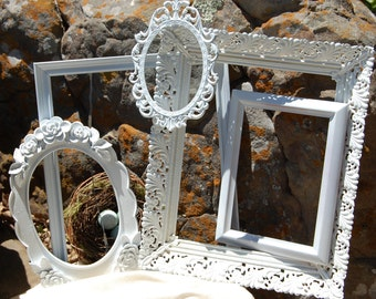 Cottage Chic White Frame Collection - Wedding - Shabby Chic Vintage Picture Frames