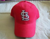 St. Louis Cardinal Inspired Red Bling Cap - customer providing own hat