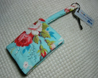 quilted fabric wallet/gift card holder/credit card organizer/business card case in cottage roses on aqua