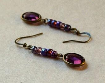 Plum Swarovski Oval Dangle Earrings Boho Purple Amethyst Glass Beaded Drops Antique Brass Channel Set Bohemian Fashion Jewelry Free Shipping