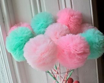 Fairy Wands, Tulle Pom Pom Wands, Pink and Min PREMIUM Wands, Party Favors, Centerpiece, 10, 12, or 15 pc Set