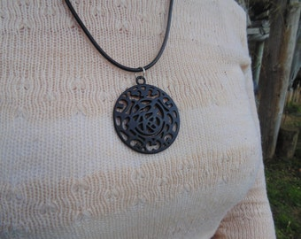 Pewter Oriental Pendant Necklace
