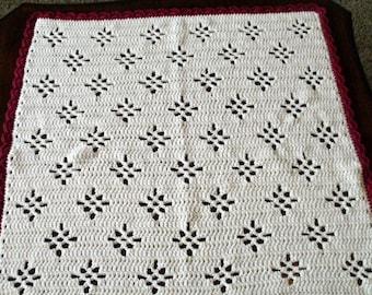 Crochet Baby Blanket Ivory with Maroon Trim Diamond Pattern