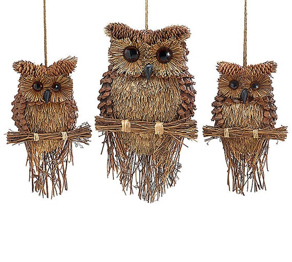 Twig pine cone sisal owl ornament wall hanging wreath for Sisal decoration