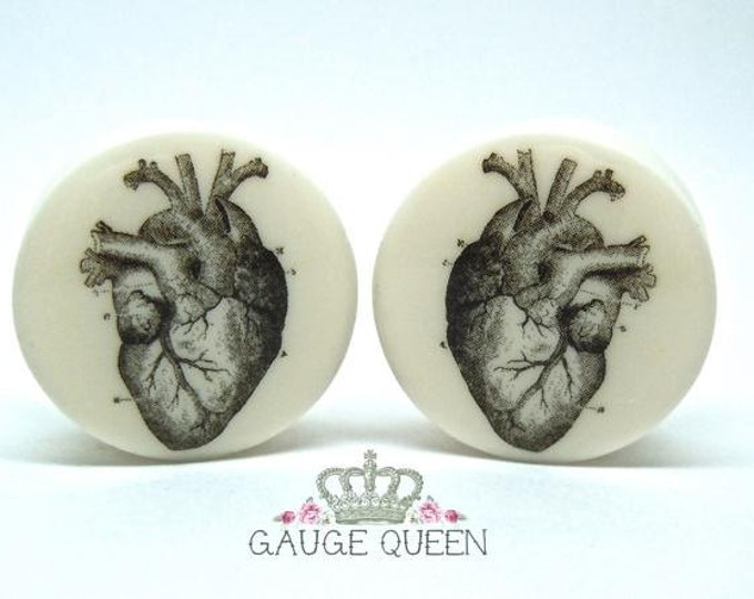 "Anatomical Heart Plugs / Gauges. 4g /5mm, 2g /6.5mm, 0g /8mm, 00g /10mm, 1/2"" /12.5mm, 9/16"" /14mm,5/8"" /16mm,3/4"" /19mm,7/8"" /22mm,1"" /25mm"