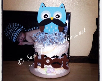 Little Man Owl Diaper cake Minis - Custom - Baby shower centerpieces/Birthday owl with mustache, mustache baby ahower,