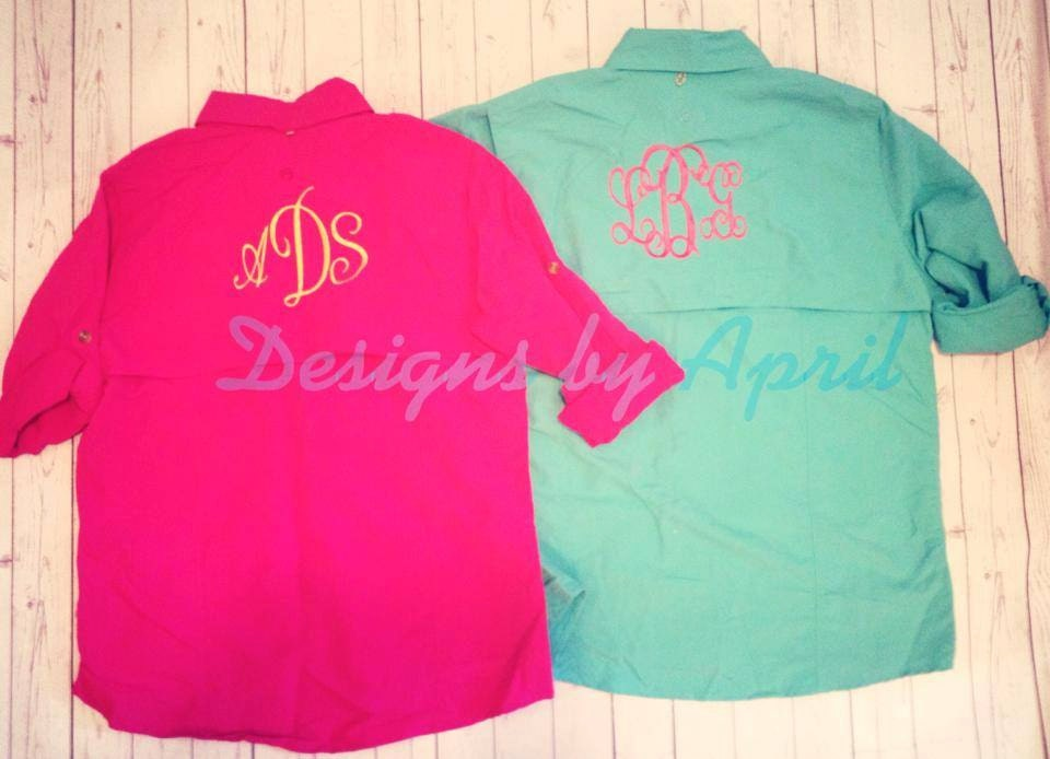 Ladies monogrammed fishing shirt by designsbyapril1234 on for Monogram fishing shirt