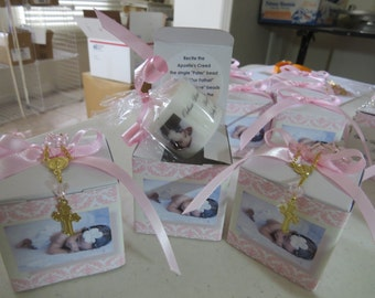 25 baptism candle boxes with mini rosary