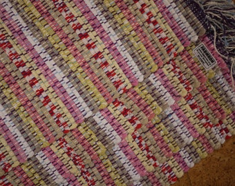 Handwoven Placemats Set of Four Translucent Off White Red Speckles