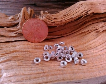 4mm Corrugated Round Vintage Sterling Silver Rondels.  12 Pieces.