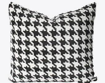 Decorative Houndstooth Black and White, 18x18, 20x20, 22x22 or Lumbar, Throw Pillow