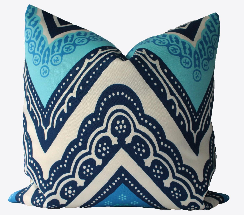 Decorative Pillows Trina Turk : Decorative Designer Trina Turk for Schumacher Blue Indoor