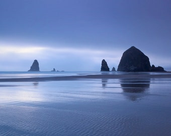 Beach Art, Coastal Decor, Pacific Northwest Photography, Large Wall Art, Oregon Coast Photo, Cannon Beach, Fog Foggy, Navy Blue Purple Decor