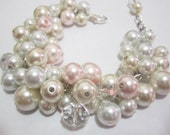 Cluster Pearl Bracelet, Ivory, White and Blush Pink, Bridesmaid Gifts, Chunky Bracelet, Pearl Cluster Bracelet, Bridesmaid Bracelet