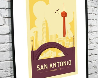"San Antonio, Texas Skyline 11""x17"" Poster"