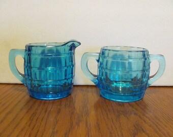 Indiana Glass Tiara Aqua Blue Barrel Cream and Sugar Set
