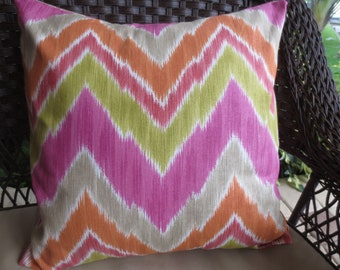 Pillow Cover in a Pink, Orange and Celery Green Chevron Print