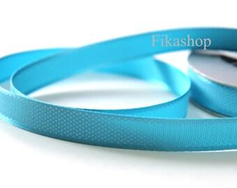 3 yards 5/8 inch 16mm Grosgrain White Tiny Polka Dot Sky Blue Ribbon - Fikashop