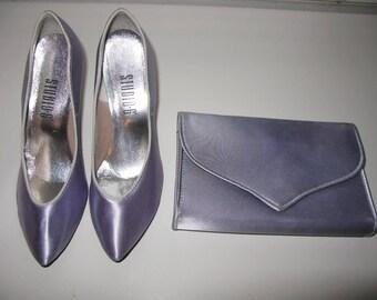 Purple Satin Shoes Heels,Lavender Purse Kitten Heel Size 6 1/2