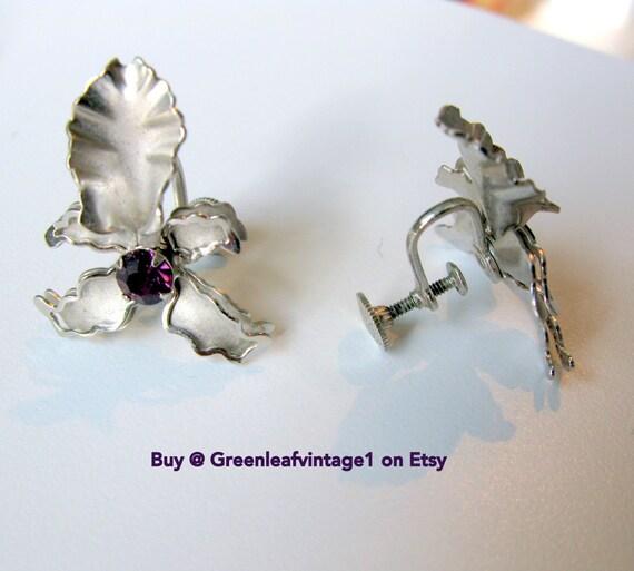 Screw Back Earrings, BUGBEE & NILES JEWELRY Orchids - 1940s Vintage Rhinestone Earrings