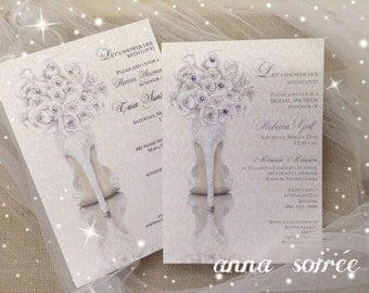 BRIDAL SHOWER INVITATIONS Shoe Theme Bridal Shower - Bridal Shoe with Bouquet, Personalized