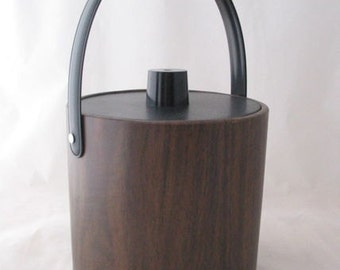 Brown Vinyl Ice Bucket by Irvinware with Faux Wood Design Vintage 1960s Barware