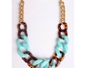 Turquoise Tortoise Statement Necklace chunky necklace statement jewelry tortoiseshell link PARADISE CITY