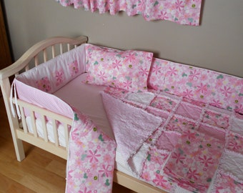Baby Pink Floral Tractor John Deere Fabric Crib Bedding SET Rag Quilt Valance Crib Skirt Pillow Case