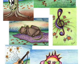 Art postcards with drawings, cats, birds, musical instruments, greeting card, cat birthday card, collectable, choose any 6 from the shop