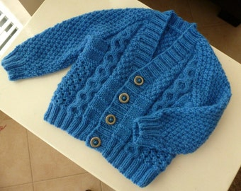 To be MADE to ORDER | Blue handknitted baby boy cardigan with v-neck | newborn hand knit baby boy sweater.