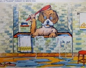 1930's Original DOG POSTCARD ~ Best Friend ~ Dog taking a Bath in a Antique Bathtub ~ Dog Lovers ~ DOG