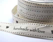 5 yards Handmade with love cotton ribbon - trim - party favor - scrapbooking - gift wrap - cardmaking