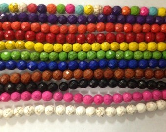 8mm round faceted  howlite beads, 52beads