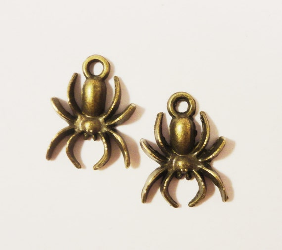 Bronze Spider Charms 18x13mm Antique Brass Metal Insect Bug Halloween Charm Pendant Jewelry Making Jewelry Findings Craft Supplies 10pcs