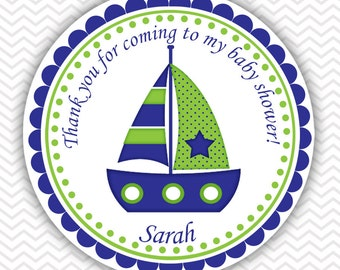 Nautical Blue Green- Personalized Stickers Baby Shower Birthday , Party Favor Tags, Thank You Tags, Gift Tags, Address labels, Baby Shower
