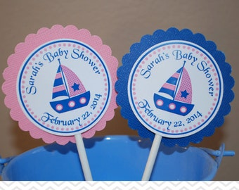 Nautical Pink Blue Cupcake Toppers - Set of 12 Personalized Birthday Baby Shower Decorations