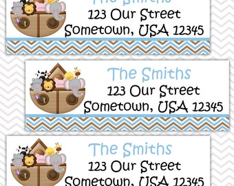 Noah's Ark Blue - Personalized Address labels, Stickers, Baby Shower, Birthday