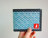 Unisex Bifold Pentex Sailcloth Wallet  White Turquoise Grey Wallet.